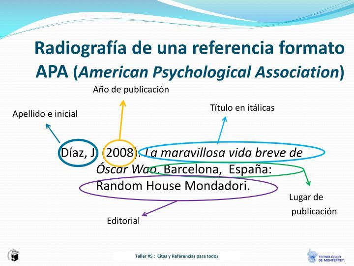 Radiografía de una referencia formato APA