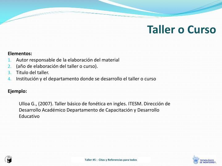 Taller o Curso