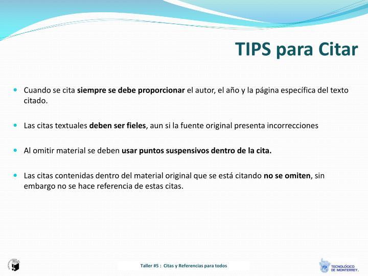 TIPS para Citar