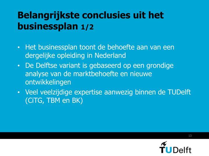 Belangrijkste conclusies uit het businessplan