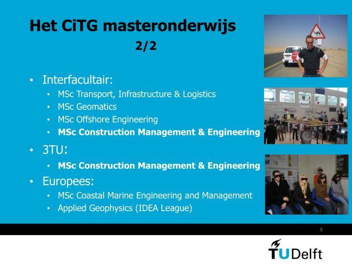 Het CiTG masteronderwijs