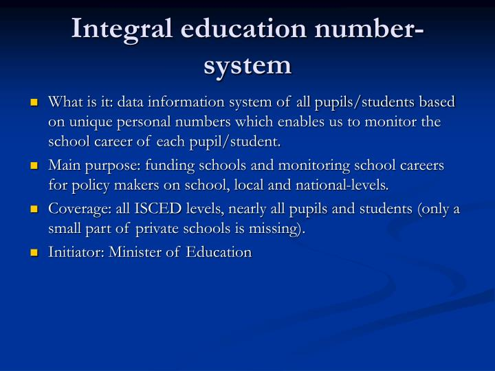 Integral education number-system