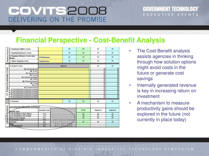 The Cost-Benefit analysis assists agencies in thinking through how solution options might avoid costs in the future or generate cost savings