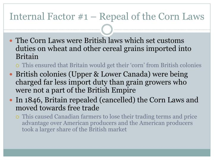 Internal Factor #1 – Repeal of the Corn Laws