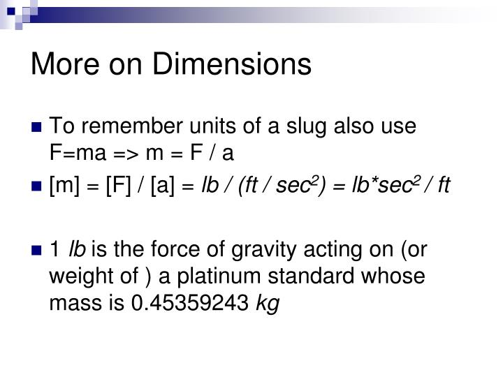 More on Dimensions