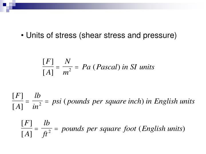 Units of stress (shear stress and pressure)