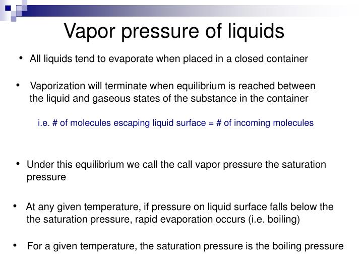 Vapor pressure of liquids