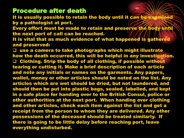 Procedure after death