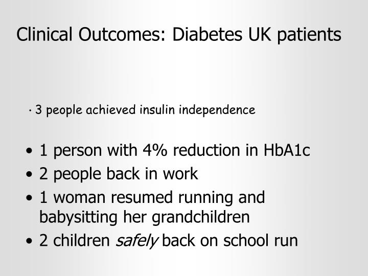 Clinical Outcomes: Diabetes UK patients