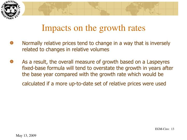 Impacts on the growth rates