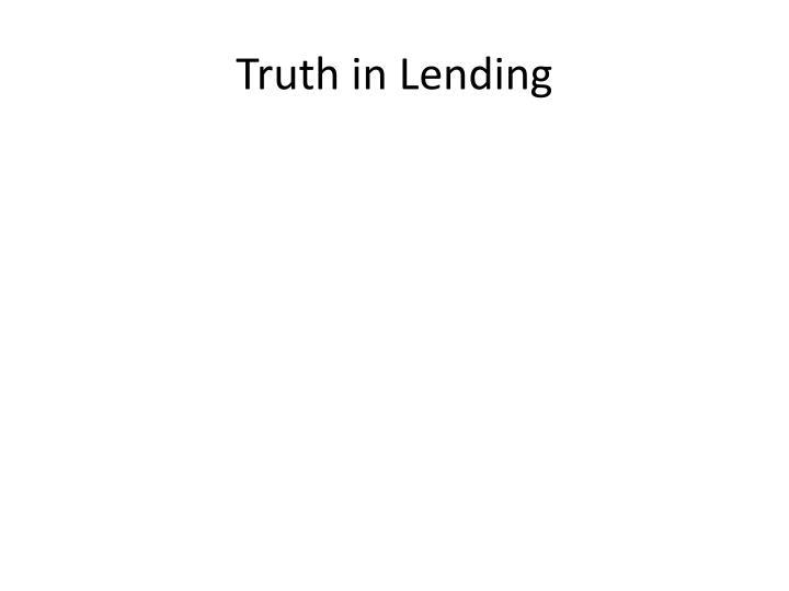 Truth in Lending