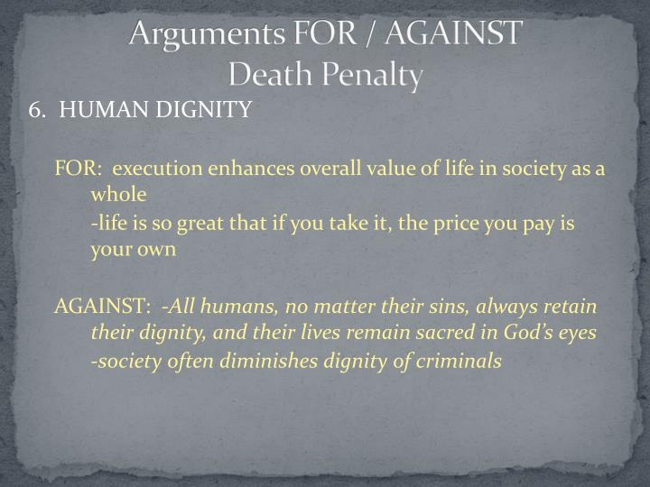 the arguments for and against the capital punishment in the united states Argument against the death penalty and has gained wide acceptance in the united states since the arguments for and against the re-introduction of the.