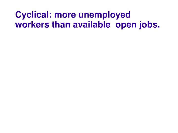 Cyclical: more unemployed workers than available  open jobs.