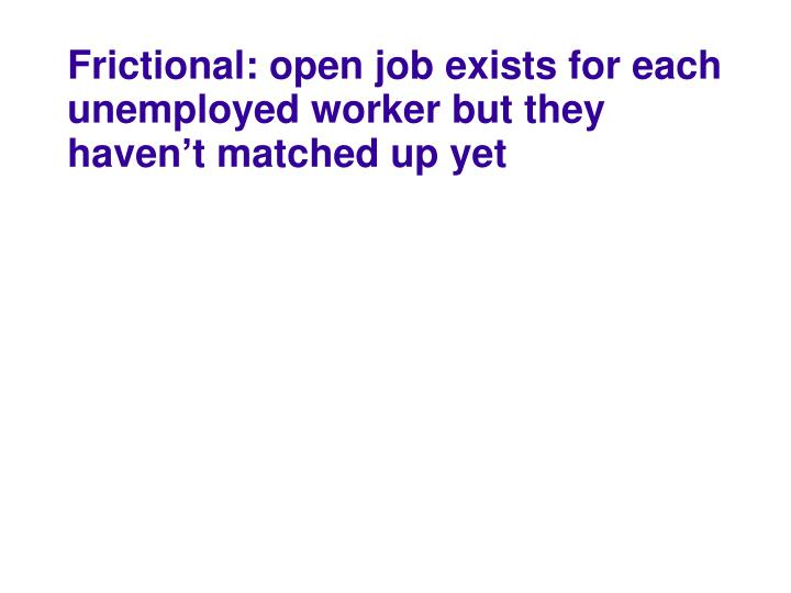 Frictional: open job exists for each unemployed worker but they haven't matched up yet
