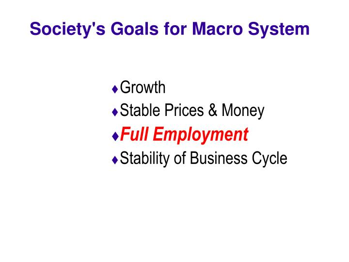 Society s goals for macro system