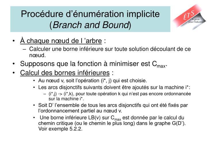 Procédure d'énumération implicite (