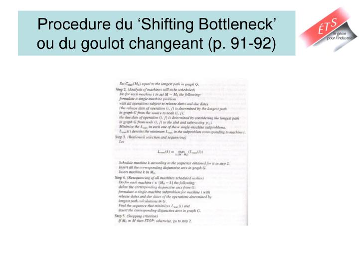 Procedure du 'Shifting Bottleneck'