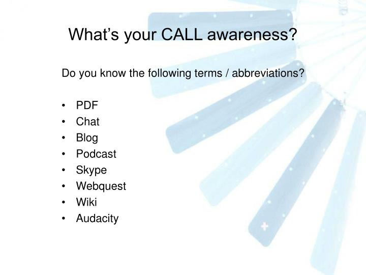 What's your CALL awareness?