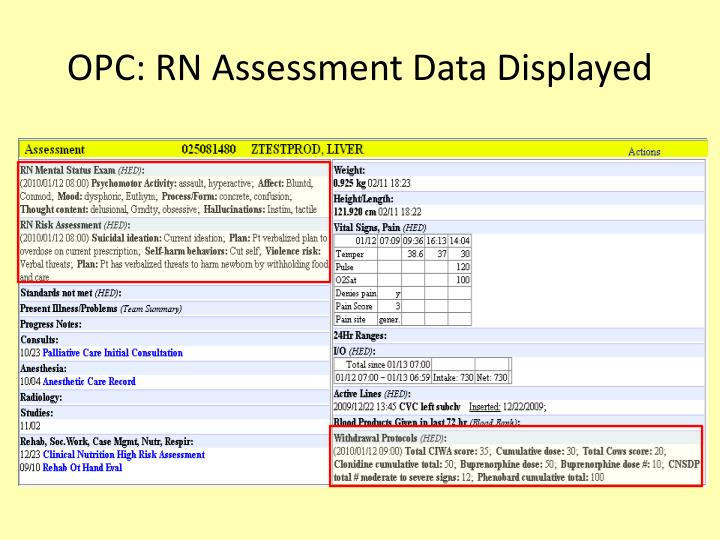 OPC: RN Assessment Data Displayed