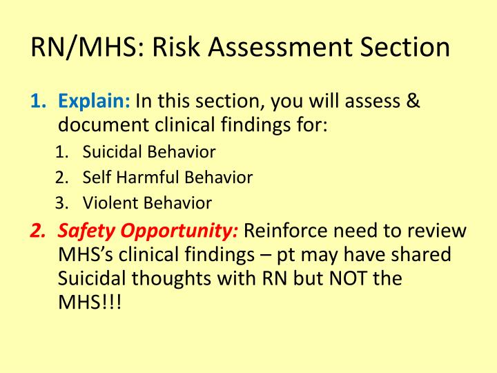 RN/MHS: Risk Assessment Section