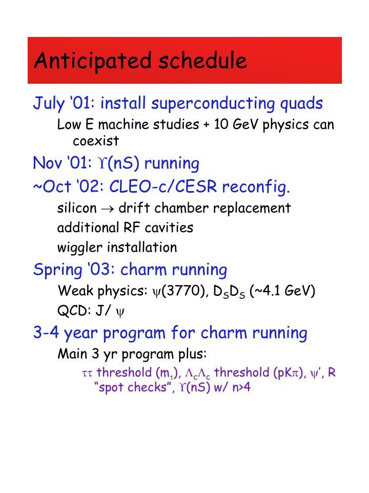 Anticipated schedule