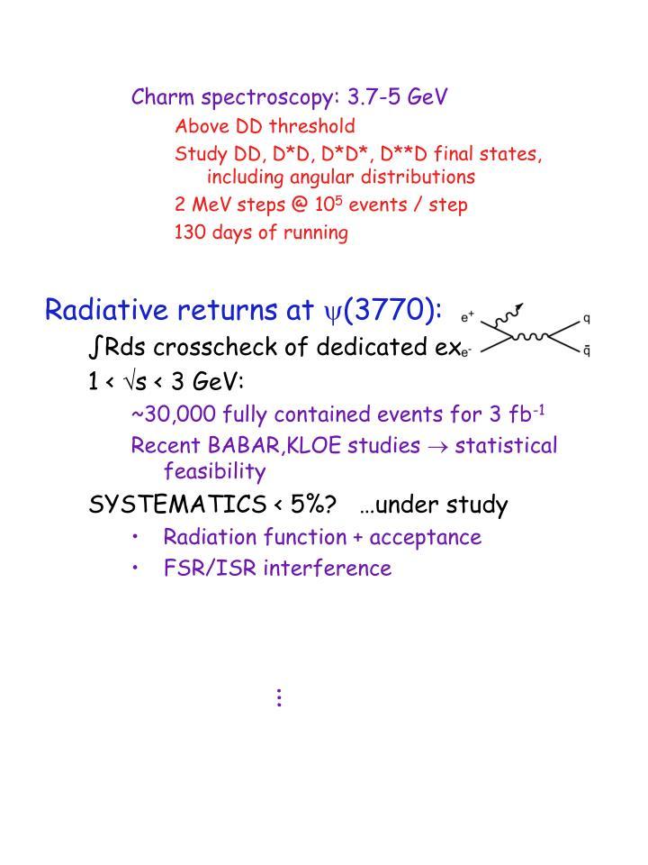 Charm spectroscopy: 3.7-5 GeV