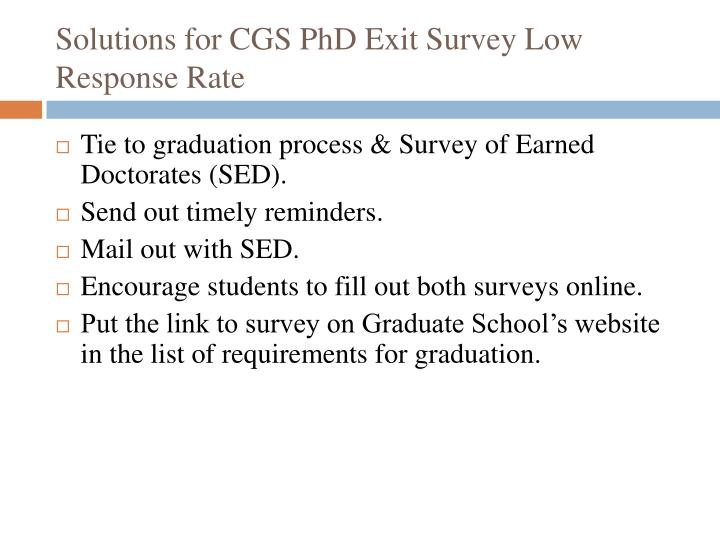 Solutions for CGS PhD Exit Survey Low Response Rate