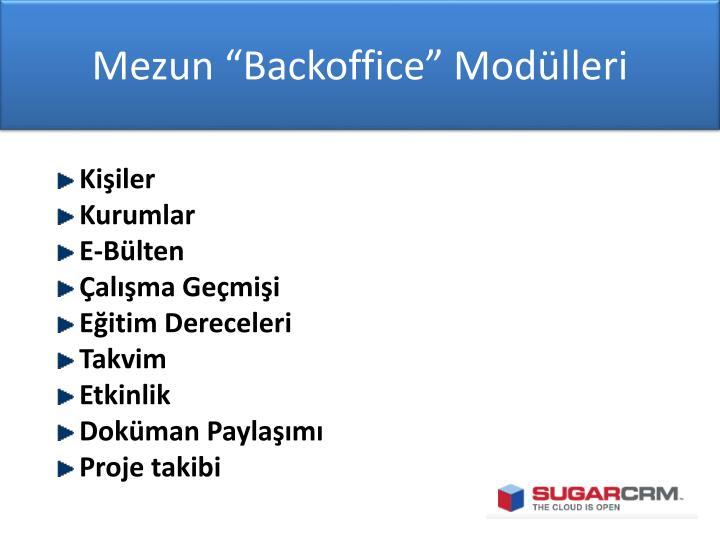 """Mezun """"Backoffice"""" Modülleri"""