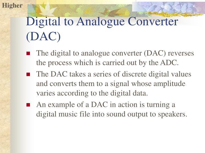Digital to Analogue Converter (DAC)