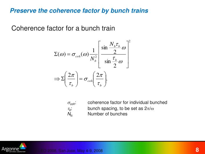 Preserve the coherence factor by bunch trains