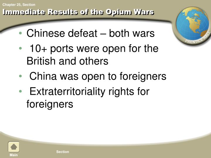 Immediate Results of the Opium Wars