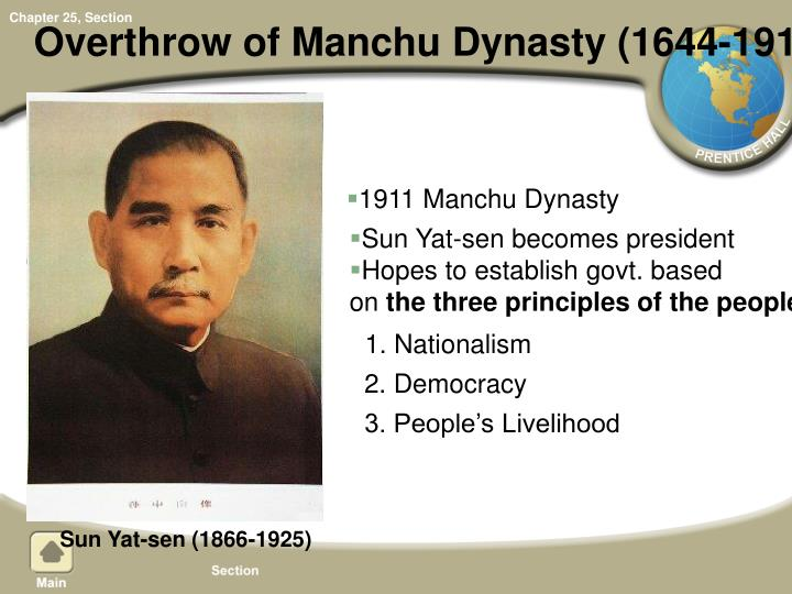 Overthrow of Manchu Dynasty (1644-1911)