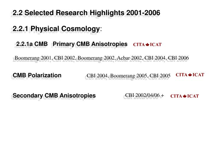 2.2 Selected Research Highlights 2001-2006