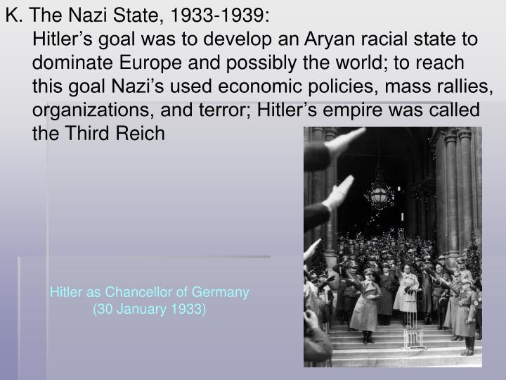 K. The Nazi State, 1933-1939: