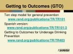 getting to outcomes gto