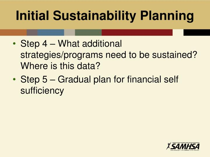 Initial Sustainability Planning