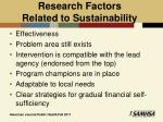 research factors related to sustainability