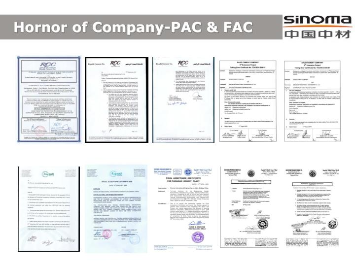Hornor of Company-PAC & FAC