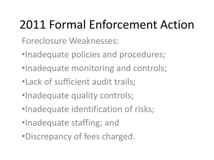 2011 Formal Enforcement Action