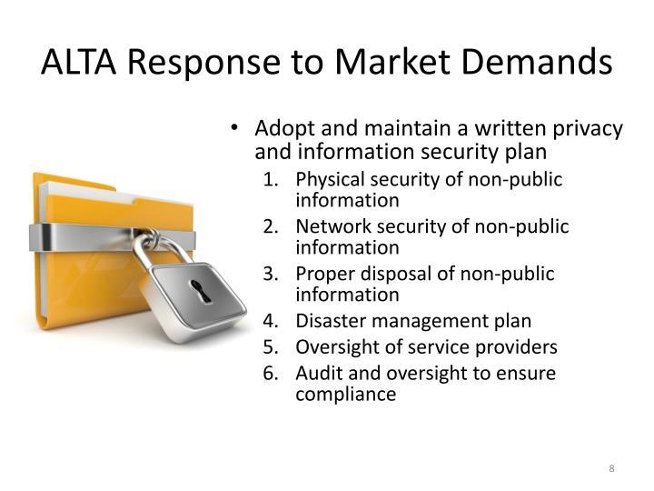 ALTA Response to Market Demands