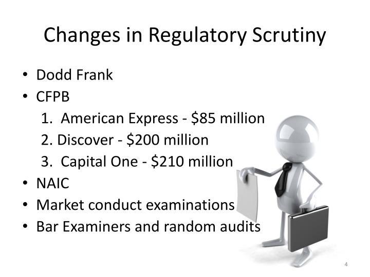 Changes in Regulatory Scrutiny