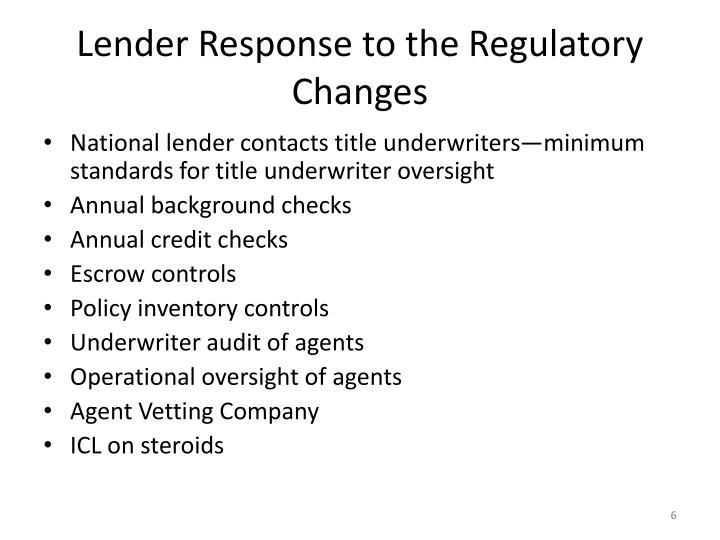 Lender Response to the Regulatory Changes