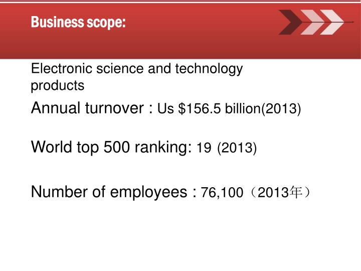 Business scope:
