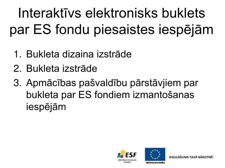 Interaktīvs elektronisks buklets par ES fondu piesaistes iespējām