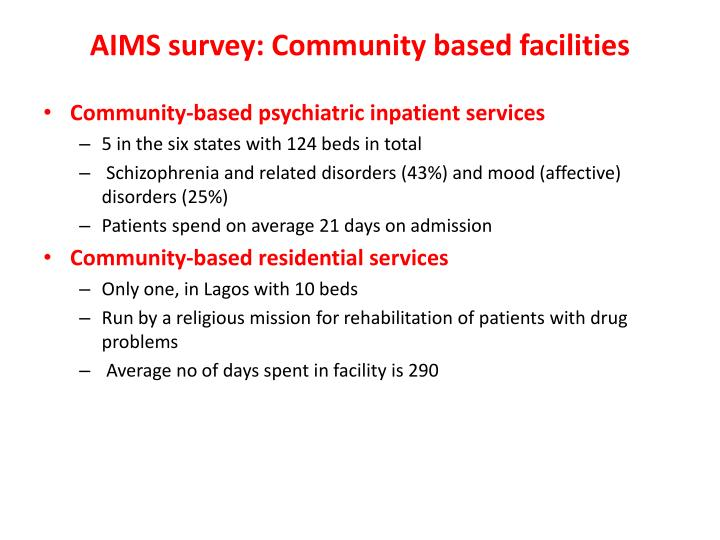 AIMS survey: Community based facilities