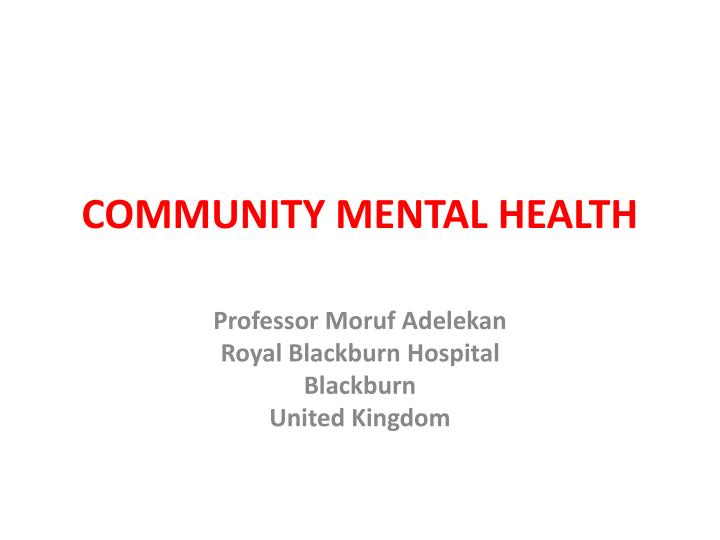 Community mental health