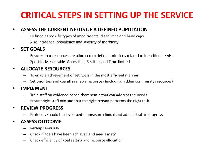 CRITICAL STEPS IN SETTING UP THE SERVICE