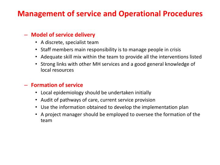 Management of service and Operational Procedures