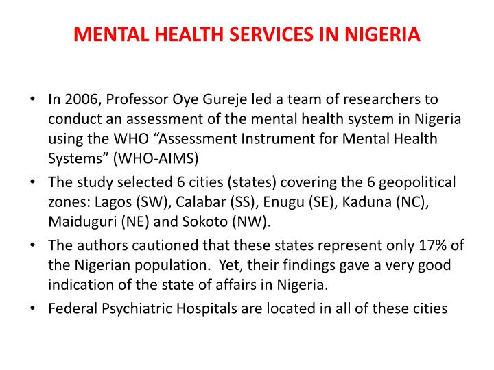 MENTAL HEALTH SERVICES IN NIGERIA