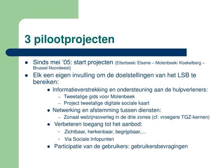 3 pilootprojecten